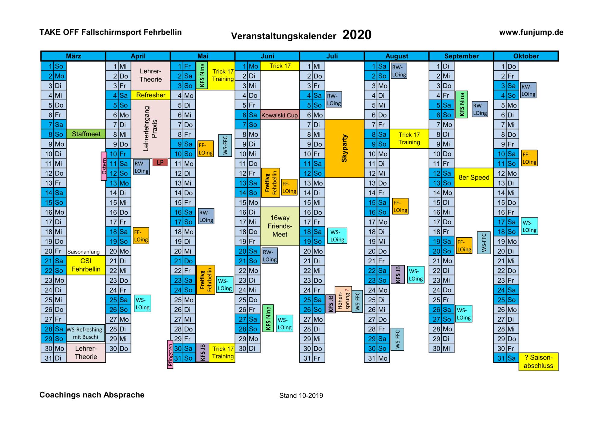 Termine 2020 Stand 10-19
